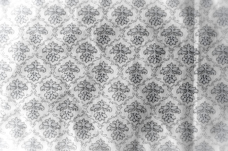Texture background pattern. Cotton cloth is gray. Flat design of green and gray flowers isolated on white background. Flowers pattern.