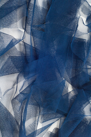 Texture, background, pattern. Blue ribbon in a small grid. Wide blue tulle gauze mesh fabric embroidered ribbon ribbon lace trim