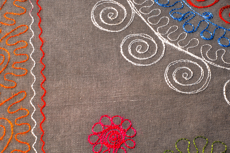 Texture, background, pattern. Cloth of cotton with embroidery of colors and patterns. Clear color with embroidered floral pattern, made of poly cotton and lace of organza