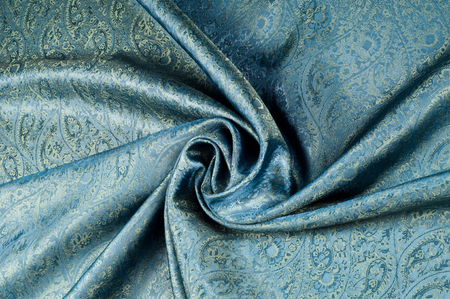 Background texture, pattern. Blue paisley silk chiffon mod fabric by the yard. Crinkled, flowy, soft, very light,