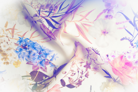 Texture, background, pattern. Silk fabric. Texture with pink and yellow flowers in watercolor technique. Wallpapers with roses, daisies and mimosa. Greeting card. Silk scarf, shawl. Holidays. Stock Photo