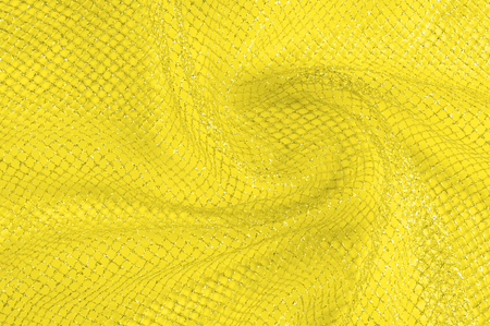 Yellow silver mesh fabric, with a woven metallic thread. Bring it back in the 1920s with this extravagant silvery and black geometric yellow mesh. Grab it while he's still here,