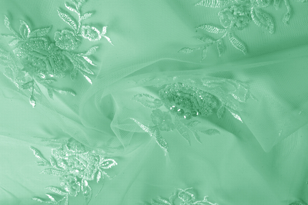 texture Tulle is white Growing in a bold floral design do not miss the chance to purchase this white on white floral embroidered tulle Large floral vignettes grow  columns over a clean soft tulle Stock Photo