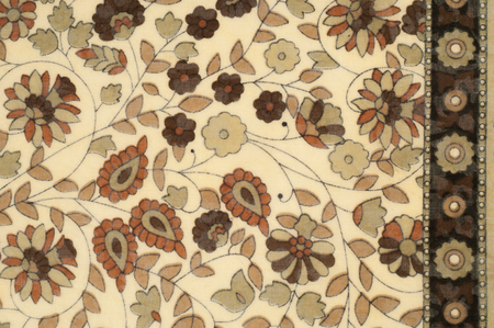 Background texture, pattern. Fabric beige with a floral pattern. Designed for free spirit. Colors include olive green, pink, yellow and fuchsia against the backdrop of ivory. Desinger dare Stock Photo