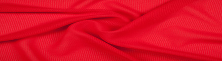 Silk fabric texture, background, red-colored single-colored, rosso corsa Stock Photo
