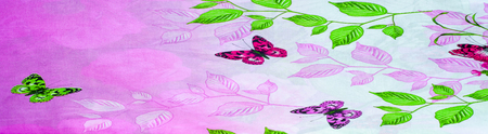 Texture, background. Cotton fabric flowers pink butterfly on a light green background. Bedclothes
