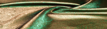 green silk fabric texture, salad coloring. Green silk drapery. Isolated as a whole background. Stock Photo