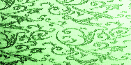 pattern of silk fabric Royal monogram. green. Luminous velvet represents a shining gold floral damask pattern that grows everywhere. This velvet can also be used for a number of fashion applications!