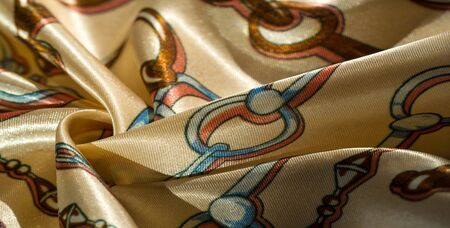 Texture, background, pattern, decorative silk fabric. This collection of silk fabrics with digital printing from RJR is distinguished by bright abstract shapes and colors. Stock Photo