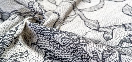 texture, background, pattern. Silk white fabric with lace patterns. This elastic lace trim can add a delicate touch to everything! Decorate your jewelry with your projects, crafts and Internet decor