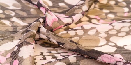 Textured design, silk fabric, womens scarf, white pink red-brown abstract circles