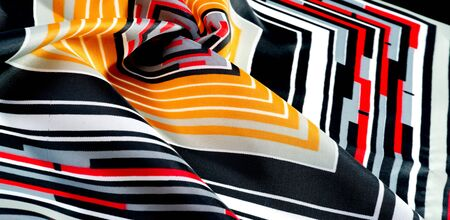 Texture  pattern. silk fabric in geometric abstract forms. Screen printing on silk duck 版權商用圖片
