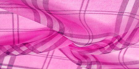 silk, cloth pink (carnation), checkered wallpaper in a cage tartan. Scottish tartan dress. Textile pattern from classic fabrics. Fabric textile pattern illustration. Фото со стока - 129763638