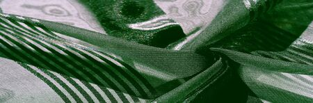 Texture, background, pattern, collection, light transparent silk fabric with stripes of different size, green. Stock fotó