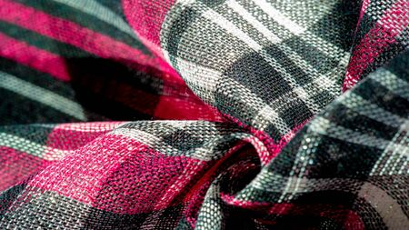 Texture, background, pattern, winter warm soft scarf for your projects Black and red white blanket, with this fabric you will be comfortable, warm Stok Fotoğraf