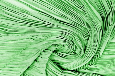 Texture, background, pattern, Fabric silk pleated green.