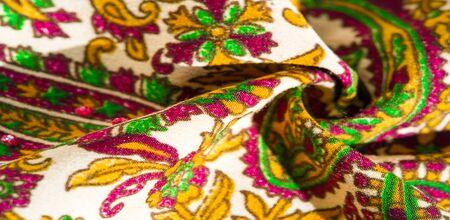Background texture, pattern, paisley fabric cotton.