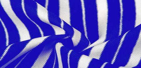 silk striped fabric. blue white stripes. Stockfoto