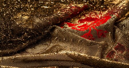 texture, background, pattern, lace with gold sequins Elastic lace pattern from gold strings with lace trim