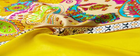 Texture, background, paisley silk fabric, Indian themes ornate traditional paisley elements with ethnic details in a bohemian print, decorative fabric for your design and accents projects, multicolor