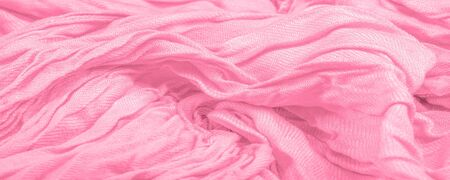texture, background, pattern, postcard, silk fabric, pink color, orchid, artificially wrinkled fabric, wrinkled texture, abstract illustration Stock Photo