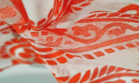 Texture, pattern, collection, silk fabric, female scarf, red ruby pastel on a beige background, Watercolor Background Photos Printed Golden Paisley Newborn Props Princess Girl Birthday Foto de archivo - 129895300