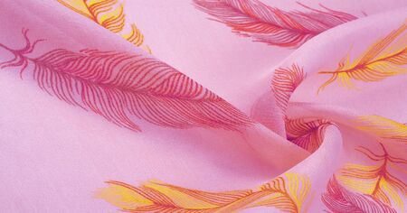 Texture background, womens shawl. Pure silk scarf - Hand-painted scarf with an exotic bird feather pattern with digital printing. Stockfoto