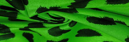 Texture, background, pattern, postcard, silk fabric, green print from the fabric of black hearts, your projects will not go unnoticed, this fabric will help you with this