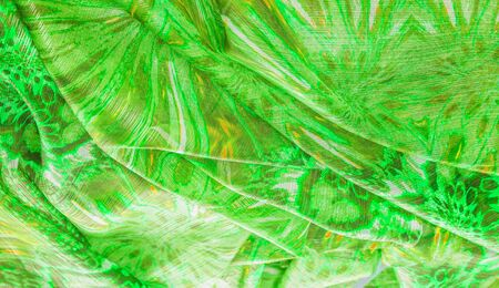 Background texture, pattern. Silk from a greenish emerald shade. This luxurious silk chiffon fabric is a show-stopper. It is clean, has a liquid drape and ultra soft. It is perfect for your design.