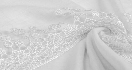 Texture, background, pattern, postcard, silk fabric, female white scarf with lace wrappers. Use these fancy images to create your print and digital materials. 写真素材