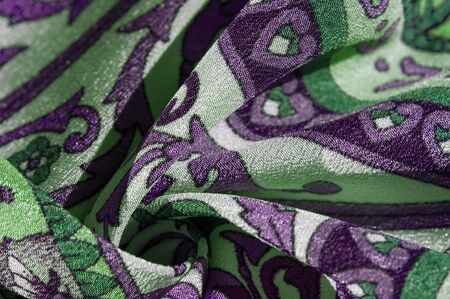 Texture background pattern , silk fabric, moderate soothing colors, royal monogram pattern, white, green azure colors on the fabric. your design will be steeped in the spirit of the Middle Ages Stok Fotoğraf