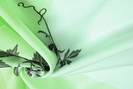 Texture, background, pattern, postcard, silk fabric, green celadon clover tones, black patterns with print, floral pattern, exquisite fabric will make your project the best