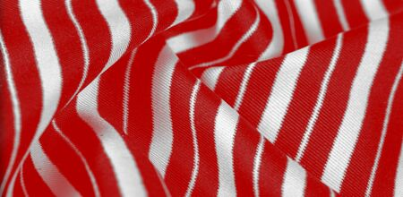 silk striped fabric. Red-white stripes. This beautiful, super soft, medium-sized silk blend is perfect for your design projects. It is brushed on the back for a luxurious feeling. Stockfoto - 131276191