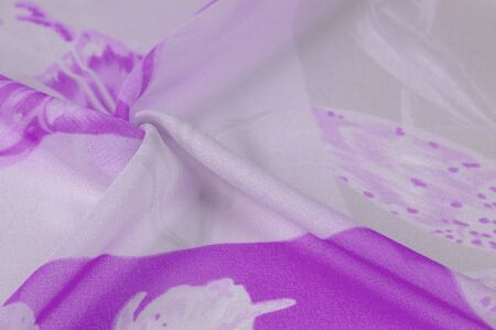 Texture, background, pattern, silk fabric, Purple on Silver background. Your projectors will be pacified, this delicate fabric in pastel colors will cause illusion and fantasy. Stockfoto - 131276379