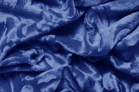 Texture background pattern velor cloth of blue color Velvet is synonymous with luxury One of the most characteristic qualities of velvet is its soft fuzzy heap Pile makes velvet smooth  rich in texture Stockfoto - 131276389