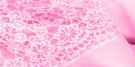 Texture, background, pattern, postcard, silk fabric, female amaranth pink scarf with lace wrappers. Use these fancy images to create your print and digital materials. Stockfoto - 131276434