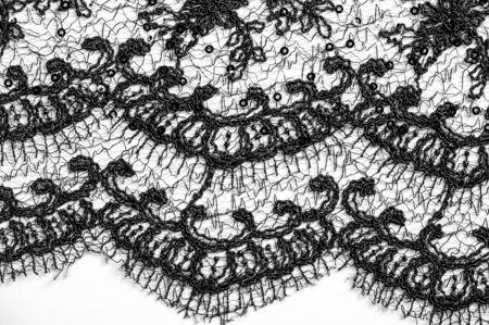 Texture, pattern, lace fabric in black on a white background. This beautiful double Gallon woven fabric is crisp and versatile, with a moderate amount of draped and floral motifs.
