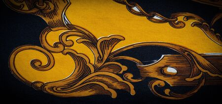 Silk fabric with gothic pattern. I would be glad to be surrounded by these rich silk gothic prints of rich black and gold shades This set is also well suited for a vampire lair or a romantic boudoir Banco de Imagens