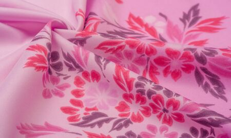 texture, background, pattern, delicate pink silk with floral print Exceptionally lightweight pure silk fabric with a delicate texture. Clean, use lining when opacity is desired.