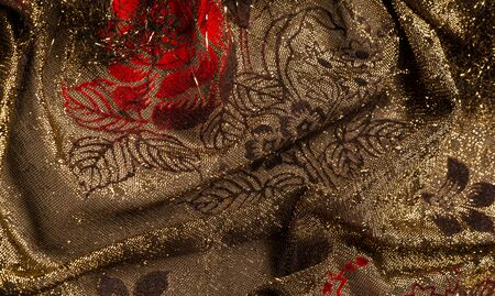 texture, background, pattern, lace with gold sequins Elastic lace pattern from gold strings with lace trim - a wonderful dark gray color with a pink pattern!