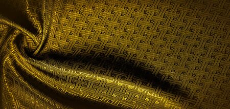 Background texture, pattern. Yellow, mustard silk fabric with a small checkered pattern. Muffled yellow braided with subtitles with sparkles - a bright chart-plot design. Individual pieces. Reklamní fotografie