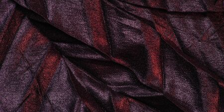texture background pattern wallpaper silk fabric black with red stripes, wrinkled fabric, your project will acquire sophistication and brevity this unusual texture is exactly what you need Zdjęcie Seryjne