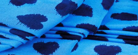 Texture, background, pattern, postcard, silk fabric, blue print from the fabric of black hearts, your projects will not go unnoticed, this fabric will help you with this
