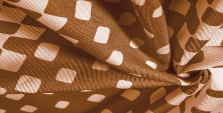 texture background pattern. silk fabric with brown squares on a white background. This is a heavy square 100% polyester that blends perfectly with modern, transitional or contemporary design. Stock fotó