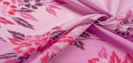 texture, background, pattern, delicate pink silk with floral print Exceptionally lightweight pure silk fabric with a delicate texture. Clean, use lining when opacity is desired. 写真素材