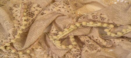 Texture, background, pattern, beige silk, feminine, corrugated New style hijab scarf maxi shawl big shawl with Muslim ruffles Standard-Bild