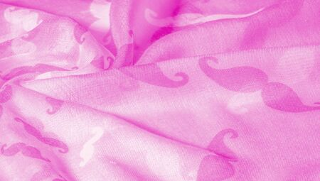 Texture Background, Pink Silk Fabric with Painted Cartoon Mustache, Geekly Mustache Cream, Geekly Mustache White
