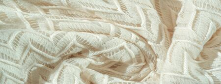 Texture, background, pattern, silk fabric, layered lace tulle, premium plain winter diamond knit scarf in the form of infinity loops - white