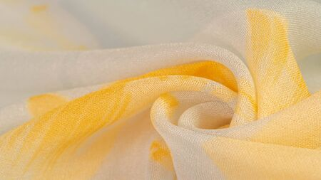 Texture, background, pattern, silk fabric, yellow flowers on a gray background. Your projectors will be pacified, this delicate fabric in pastel colors will cause decks and fantasies