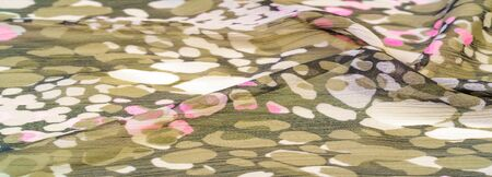Textured design, silk fabric, womens scarf, white pink red-brown abstract circles, your project will be successful, if you lift this fabric, it will leave indelible impressions